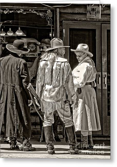 Cowgirl Skirt Greeting Cards - Cowboys in monochrome Greeting Card by Kathleen K Parker