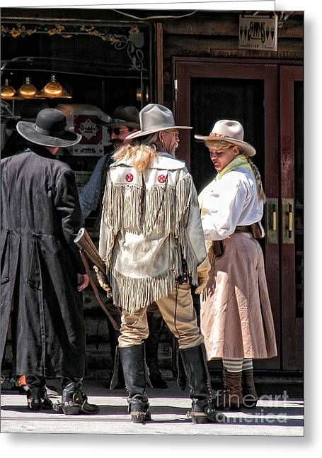 Cowgirl Skirt Greeting Cards - Cowboys Greeting Card by Kathleen K Parker