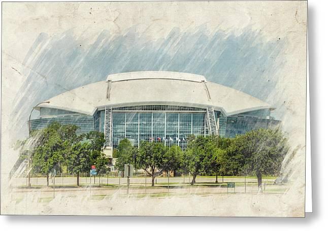 Cowboys Stadium Greeting Card by Ricky Barnard