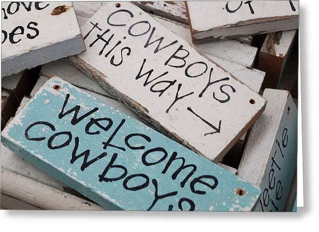 Debi Ling Greeting Cards - Cowboys this way Greeting Card by Debi Ling