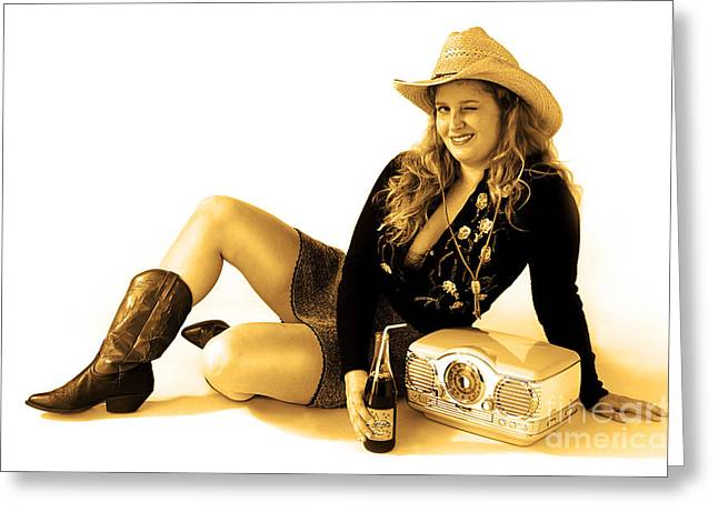 Cowgirl Skirt Greeting Cards - Cowgirl Music Sepia Greeting Card by Gib Martinez