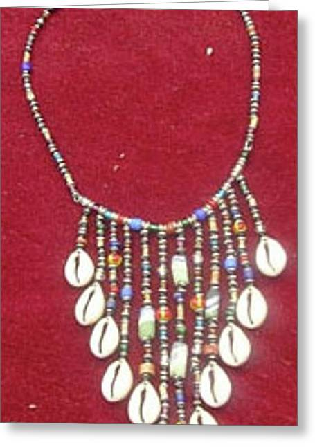 African Jewelry Greeting Cards - Cowrie Neg Lace Greeting Card by Anjeh Ambroise