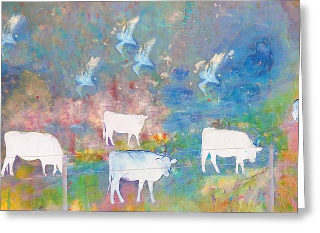 Cows And Birds Greeting Card by Jeff Burgess