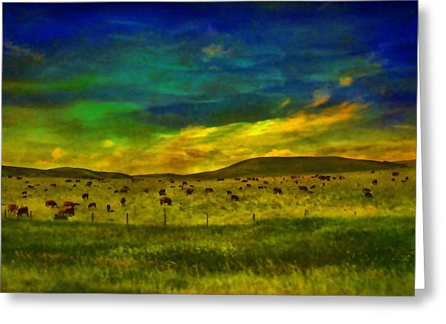 Alberta Prairie Landscape Greeting Cards - Cows In the Pasture Greeting Card by Vickie Emms
