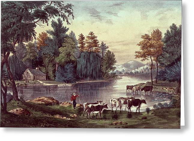American School; (19th Century) Greeting Cards - Cows on the Shore of a Lake Greeting Card by Currier and Ives