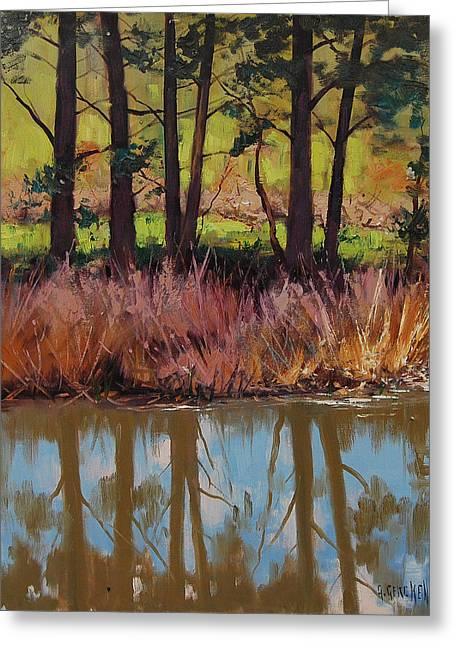 River Paintings Greeting Cards - Coxs River Bank Greeting Card by Graham Gercken