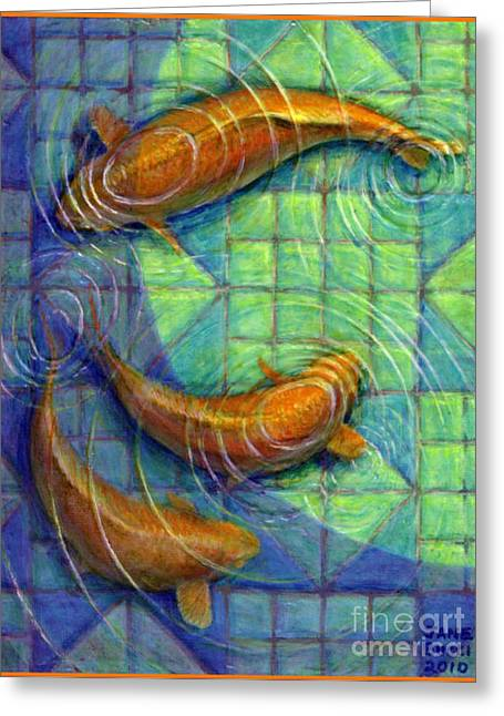 Occupy Greeting Cards - Coy Koi Greeting Card by Jane Bucci