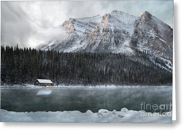 Hunting Cabin Photographs Greeting Cards - Cozy Cabin Morning Greeting Card by Andrea Hazel Ihlefeld