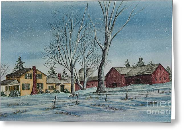 Winter Farm Scenes Greeting Cards - Cozy Winter Night Greeting Card by Charlotte Blanchard