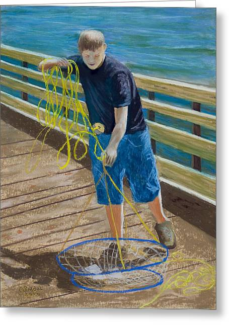 """""""crab Nets"""" Greeting Cards - Crab Boy Greeting Card by James Geddes"""