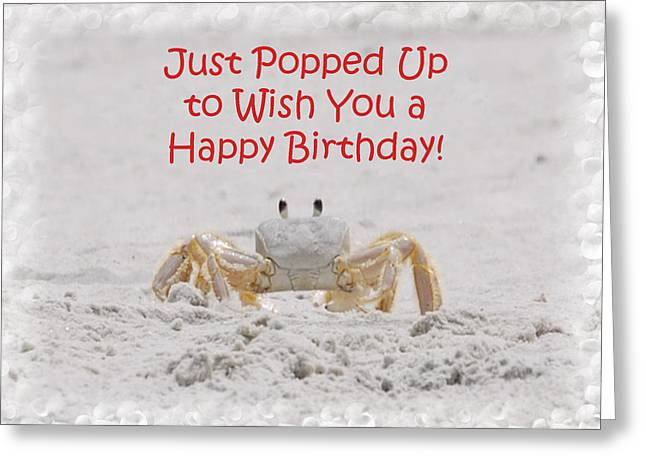 Fiddler Crab Greeting Cards - Crab Happy Birthday Greeting Card by Judy Hall-Folde