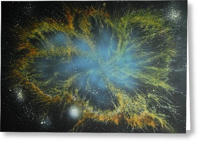 Outer Space Paintings Greeting Cards - Crab Nebula Greeting Card by DC Decker