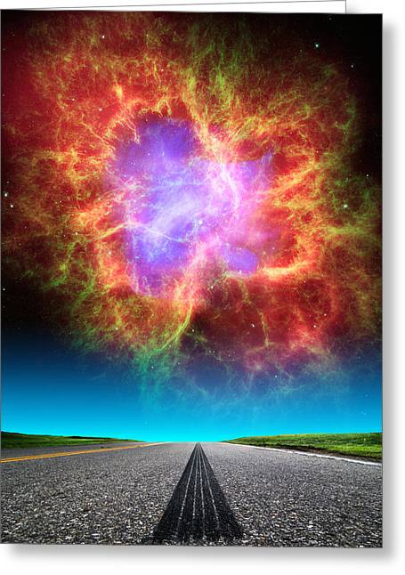 Composite Photo Greeting Cards - Crab Nebula Highway Greeting Card by Larry Landolfi