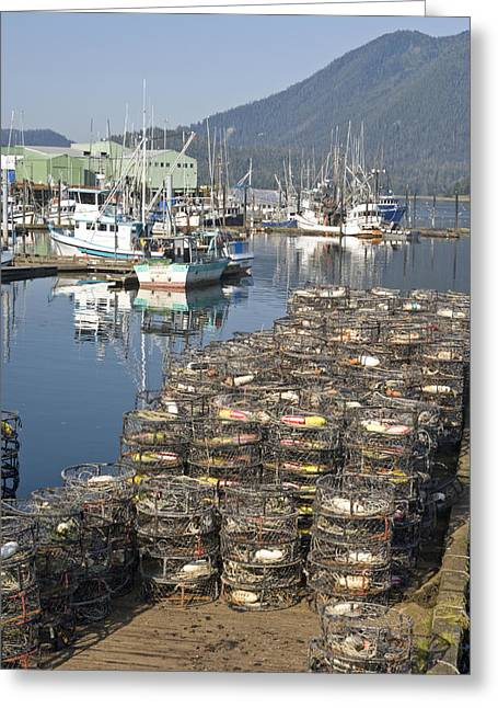Crab Traps Greeting Cards - Crab Traps On A Pier Near Fishing Boats Greeting Card by Michael Melford