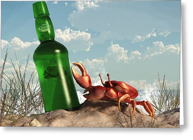 On The Beach Digital Greeting Cards - Crab with Bottle on the Beach Greeting Card by Daniel Eskridge