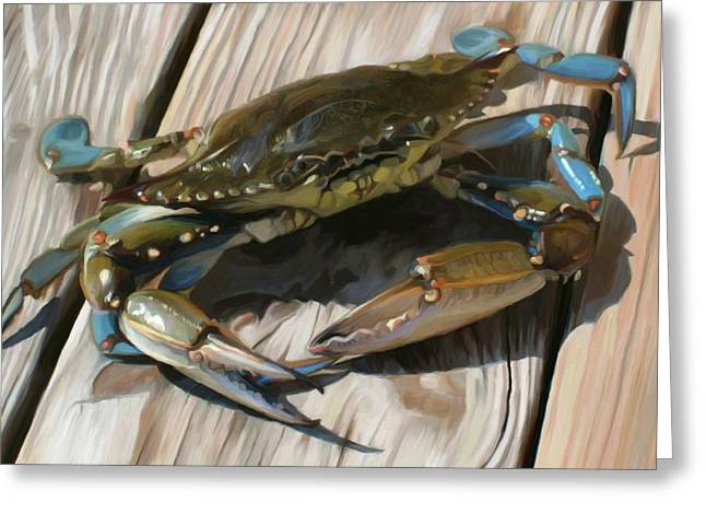 Blue Crabs Greeting Cards - Crabbie Greeting Card by Patti Siehien