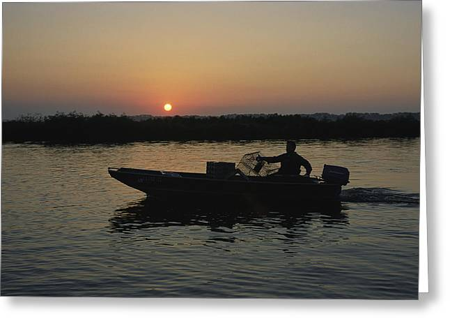 Louisiana Sunrise Greeting Cards - Crabbing Off Delacroix Island Greeting Card by Medford Taylor