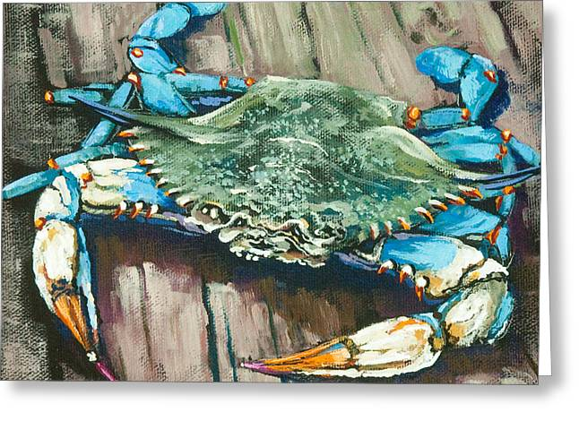 Food Art Paintings Greeting Cards - Crabby Blue Greeting Card by Dianne Parks