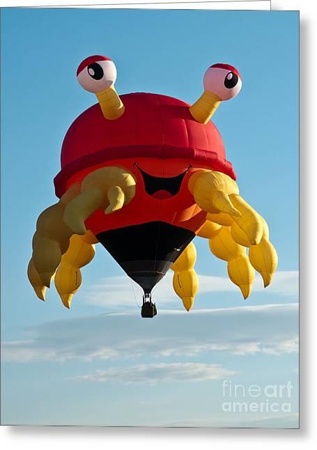 Balloon Fiesta Greeting Cards - Crabby Greeting Card by Jim Chamberlain