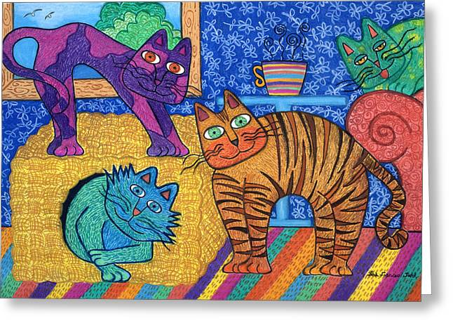 Lounging Pastels Greeting Cards - Cracked Cats At Home Greeting Card by Lisa Frances Judd
