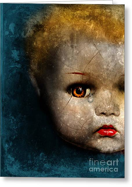 Pout Greeting Cards - Cracked Doll Head with Tear Greeting Card by Jill Battaglia