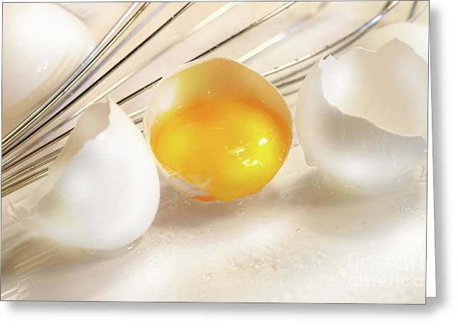 Baker Greeting Cards - Cracked egg with yolk Greeting Card by Sandra Cunningham
