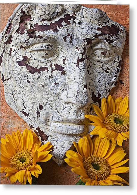 Old Face Greeting Cards - Cracked Face and Sunflowers Greeting Card by Garry Gay