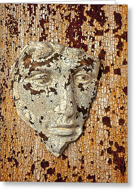 Old Face Greeting Cards - Cracked face Greeting Card by Garry Gay