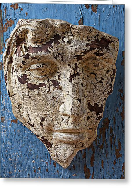 Old Face Greeting Cards - Cracked Face On Blue Wall Greeting Card by Garry Gay