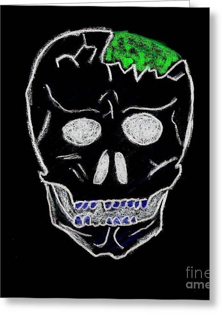 Fineartamerica Drawings Greeting Cards - Cracked Skull Black Background Greeting Card by Jeannie Atwater Jordan Allen