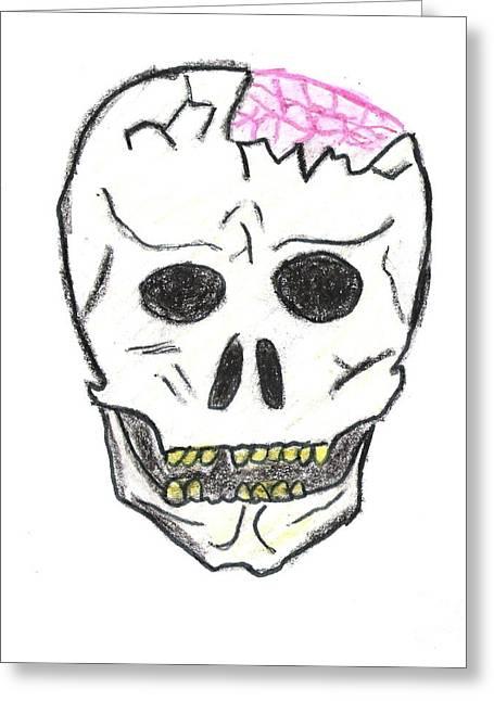 Jordan Drawing Drawings Greeting Cards - Cracked Skull Greeting Card by Jeannie Atwater Jordan Allen