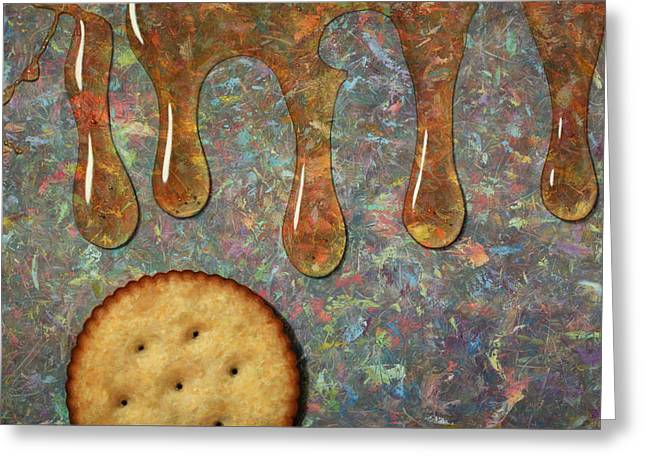 Snacking Greeting Cards - Cracker Honey Greeting Card by James W Johnson