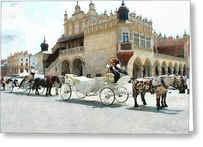 Horse Whip Digital Art Greeting Cards - Cracovia main  market place Greeting Card by Boguslaw Florjan