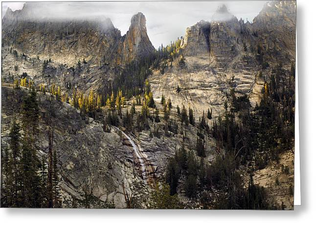 Frank Church River Of No Return Greeting Cards - Crag Mountains Greeting Card by Leland D Howard