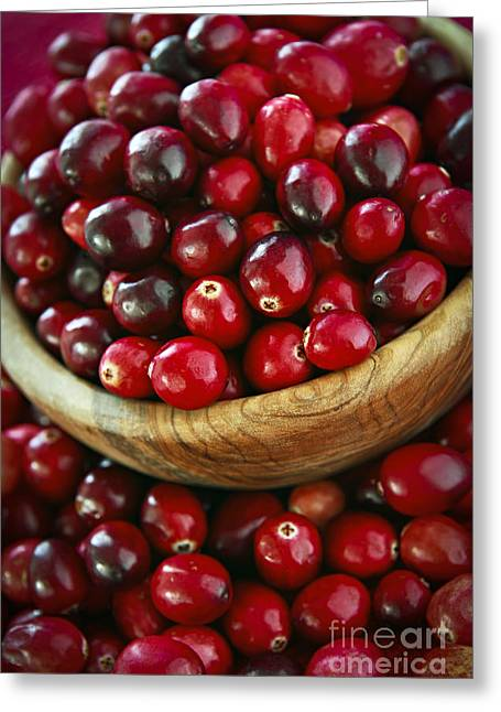 Sauce Greeting Cards - Cranberries in a bowl Greeting Card by Elena Elisseeva