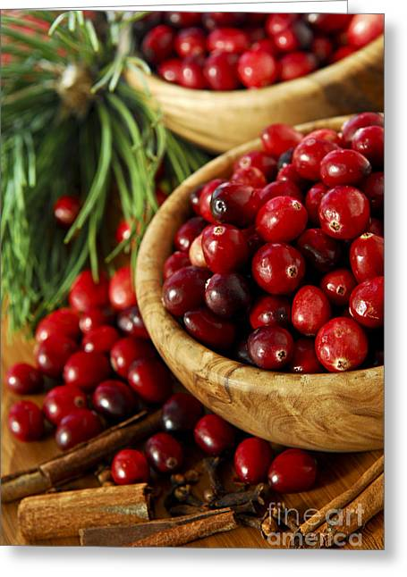 Cranberry Greeting Cards - Cranberries in bowls Greeting Card by Elena Elisseeva