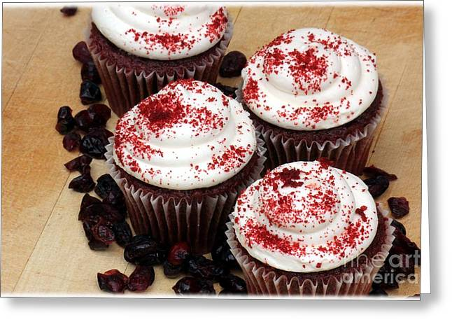 Sour Greeting Cards - Cranberry Cupcakes Greeting Card by Sophie Vigneault
