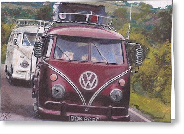 Historic Vehicle Pastels Greeting Cards - Cranberry Greeting Card by Sharon Poulton