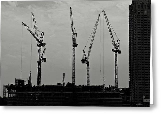 Building Crane Greeting Cards - Crane Ballet Greeting Card by Dean Harte