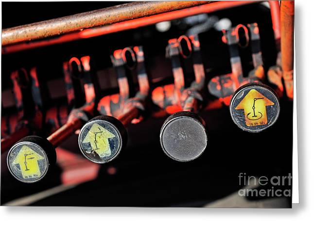 Control Panels Greeting Cards - Crane control levers Greeting Card by Sami Sarkis