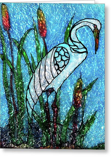 Scenic Glass Art Greeting Cards - Elegant White Heron Greeting Card by Farah Faizal