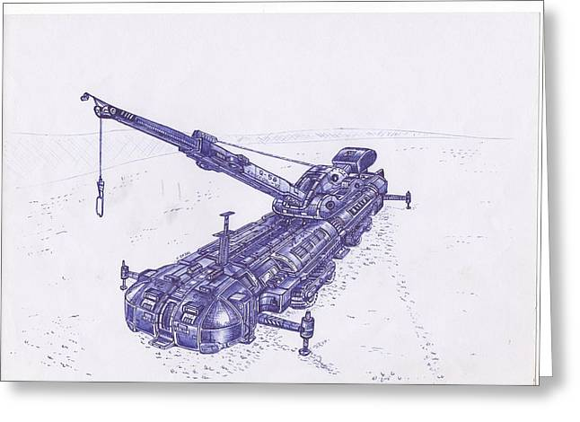 Science Fiction Pyrography Greeting Cards - Crane Vz Greeting Card by Viktor Zajac