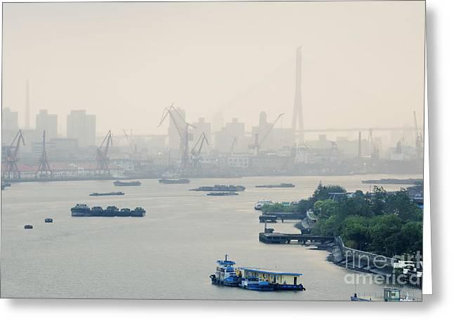 Huangpu River Greeting Cards - Cranes and River Traffic on Huangpu River Greeting Card by Jeremy Woodhouse