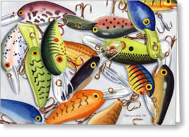 Baits Greeting Cards - Crankbaits Greeting Card by Mark Jennings