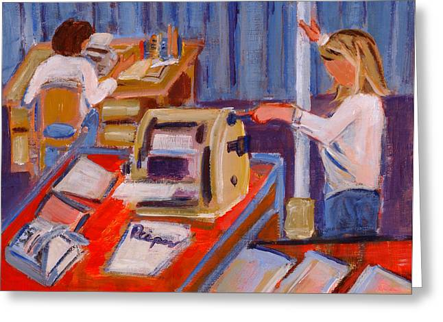 Copy Machine Paintings Greeting Cards - Cranking Out Reams of Radical Greeting Card by Elzbieta Zemaitis