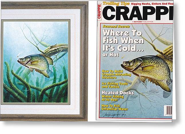 Crappies Greeting Cards - Crappie and Coon Tail Cover Greeting Card by JQ Licensing