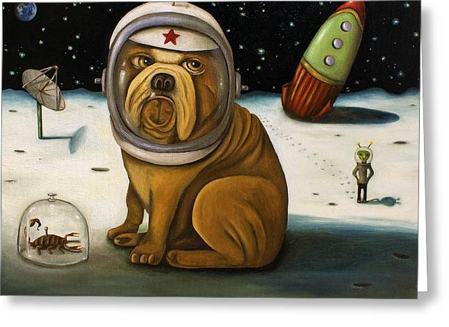 Crashed Greeting Cards - Space Crash Greeting Card by Leah Saulnier The Painting Maniac