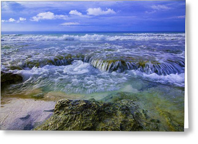 Blue Green Wave Greeting Cards - Crash Greeting Card by Chris Multop