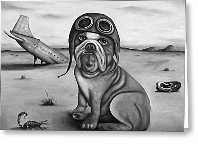 Surreal Humor Greeting Cards - Crash in B and W Greeting Card by Leah Saulnier The Painting Maniac