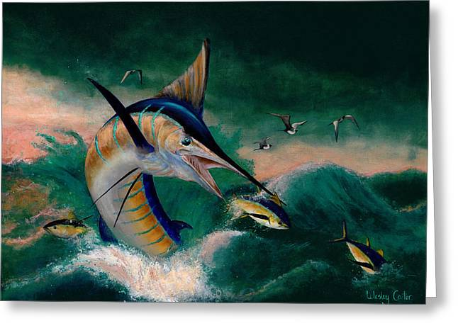 Striped Marlin Greeting Cards - Crashing Blue Greeting Card by Wesley  Carter